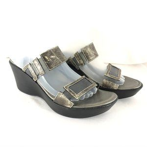 NAOT Womens Shoes Sandals Slides Wedge Silver